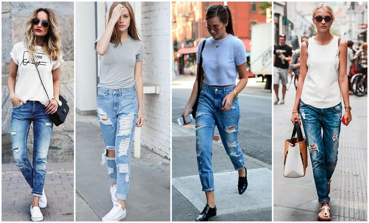 С чем носить джинсы-бойфренды осенью 2017