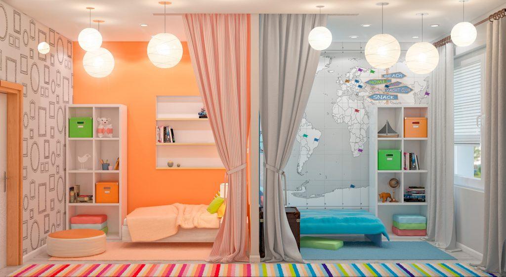 Детская комната для двоих детей – выбор мебели и другие тонкости