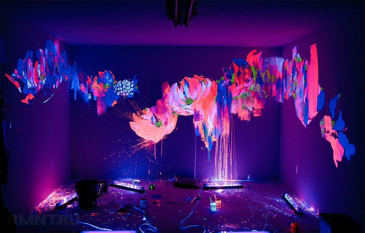 Светящаяся краска в интерьере