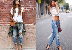 С какой одеждой носят джинсы-бойфренды?